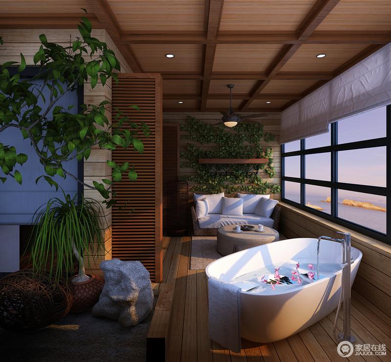卫浴间通过大量的绿植使得室内清爽、有序,富有自然原声之美和清新宁静;整体结构以实木地板和石质圆几来延续野生、无雕饰之美,与白色浴缸形成闲散、烂漫的氛围,追求简单里浸透时尚的气质。