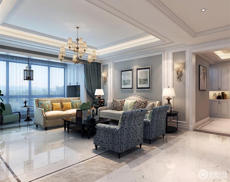 印花的绮丽点缀在沙发和靠包上,带来缱绻的浪漫气质;灰白墙面低调温和的烘托着空间氛围,加上阔朗落地窗的充足光线,客厅显得悠然闲适。