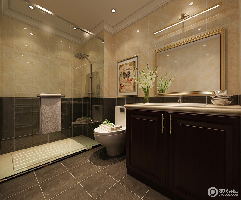 卫生间采用拼接的形式,制造视觉上的活泼感。暖黄与深棕,一深一浅,对比之中调和了空间上的单调感。玻璃隔离的淋浴房,划分干湿区域,保证空间上的干燥清洁。