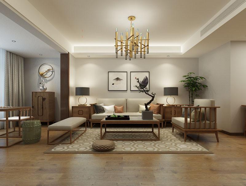 中正开阔的客厅中,朴质温实的木质从家具到地板,洋溢着自然的从容平和;墙面上装饰的挂画,用水墨诗情结合空间质感,流露出儒雅悠然的情调;活力多边形几何纹地毯和金铜材质吊灯,则碰撞的在古典意蕴中,注入几分现代时尚。
