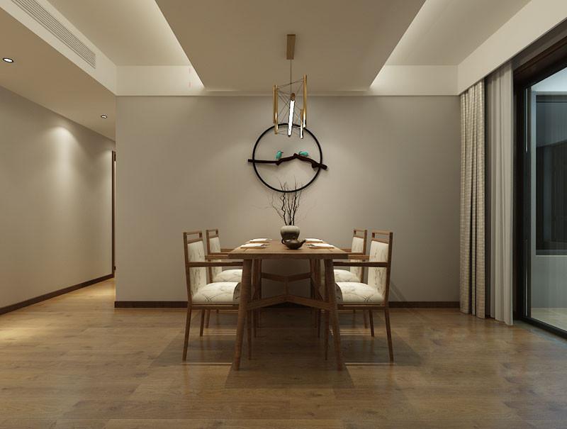 留白设计总有无声胜有声的意韵,设计师轻描淡写的在浅灰墙上,悬挂黑色圆环木雕,遒劲的辉映餐桌上枯枝,餐椅布艺的花纹,安静自然的诠释生命力;一盏现代金铜吊灯打破风格界限,于细节处碰撞发挥空间的和谐张力。
