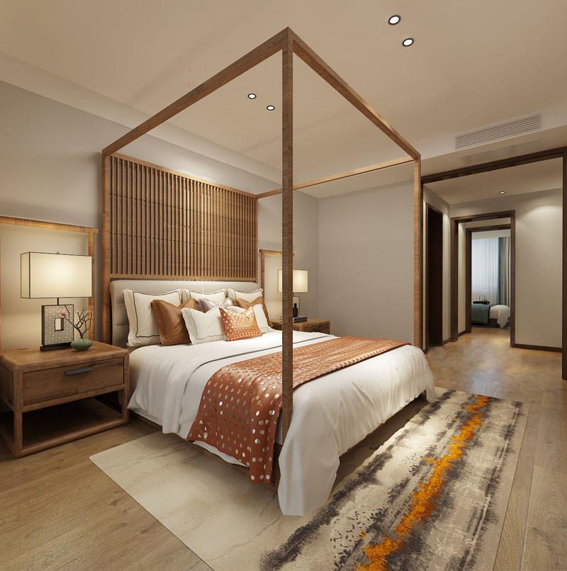宁静浅灰质感高级,在点光源的柔和笼罩下,让室内氛围空灵静怡;四柱床和床头柜上的架子,强调东方传统美学,传递兼收并蓄的朴质内敛和自然实用;床品上棕红色的波点,点缀延伸出写意端庄。
