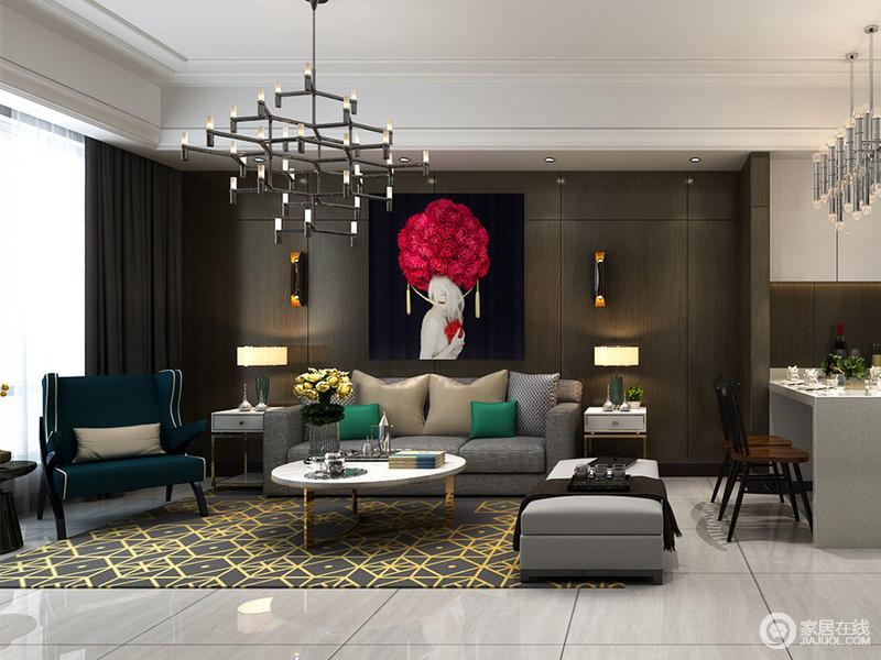 客厅沙发墙的褐色隐形门与墙面一致,大胆搭配极具视觉感的画作,空间低沉而充满了无限艺术张力。灰和深蓝绿色的沙发下,灰金色地毯几何繁复,与顶上灯饰,展现出现代设计的魅力。
