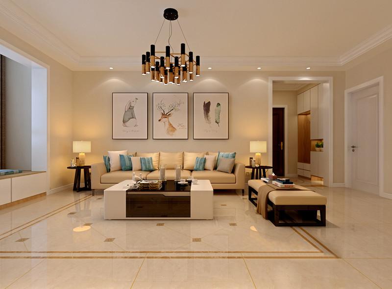 浅米色调充满了温馨的舒适感,用于背景氛围的打底,舒缓了整个客厅空间的气息;沙发组同样选用柔和的米黄色调配搭,只在靠包色彩上施以清爽的蓝色活力调和;墙面上装饰的画作清新自然,为空间点缀出几分艺文气质。