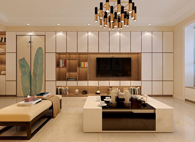 材质和色调的拼接,带来视觉上的丰富层次,茶几采用深咖配简白,吊灯则用金铜拼接黑色,上下相映的时尚感,轻奢的展现出来;背景电视墙,设计师用超强收纳的组合柜,并巧妙的结合隐形门,打造非常实用的壁面置物功能。