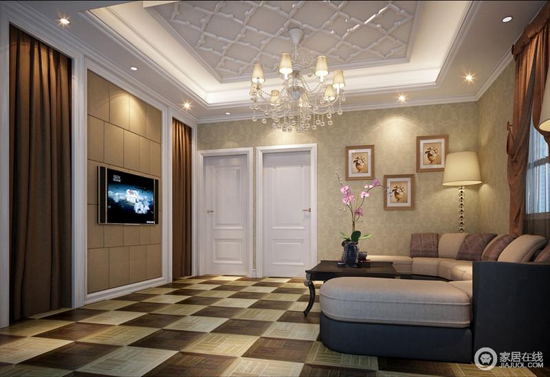 休闲室以中性色调来塑造成熟与温馨,而中性色地砖以几何拼接的方式增加了立体感和色彩感;半圆形沙发将曲线感的黑色茶几包围起来,愈显圆润;璀璨的灯光掩映着光芒,与挂画的艺术气息凝结成形。