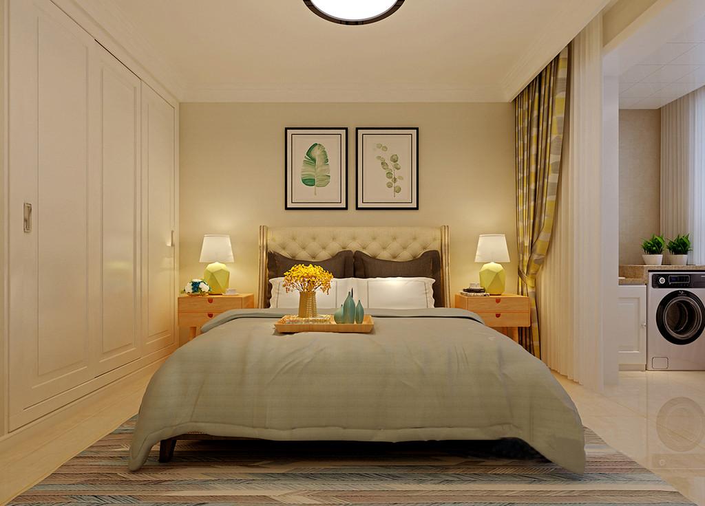 卧室里白色衣柜入墙,简单利落的释放多余空间;米色系的墙面在柔和光线映照下,散发着温润舒适的情调,让休憩环境轻松愉悦;舒服的布艺床品色调清新,与地毯、窗帘携了舒扬的韵味,让空间蕴含浅淡温柔。