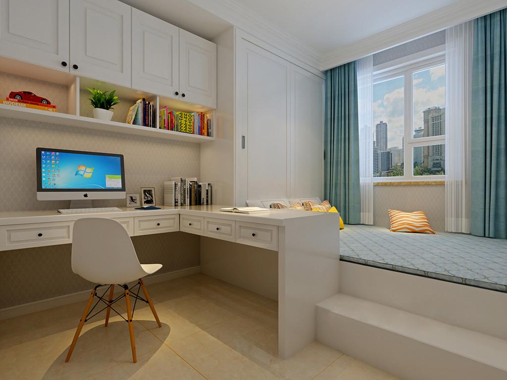 书卧一体式设计,让儿童房具有很强的实用性;榻榻米与入墙衣柜承担卧室功能,相连的L型书桌与悬挂书架,则打造出学习区,空间一举多用;布艺上的蓝、橙和黄与干净的白色搭配,在良好的采光下,使空间显得通透活力。