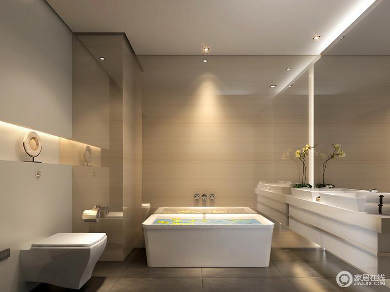 卫生间的设计相对现代感强烈,暖黄拼接灰白的墙面泛着通透的光泽,与镜面一道折射,放大了空间视觉;白色的卫浴线条干脆利落,中央收纳台增设了展示收纳功能。