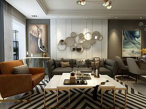 雅园二期三居室 104㎡ 现代轻奢风格