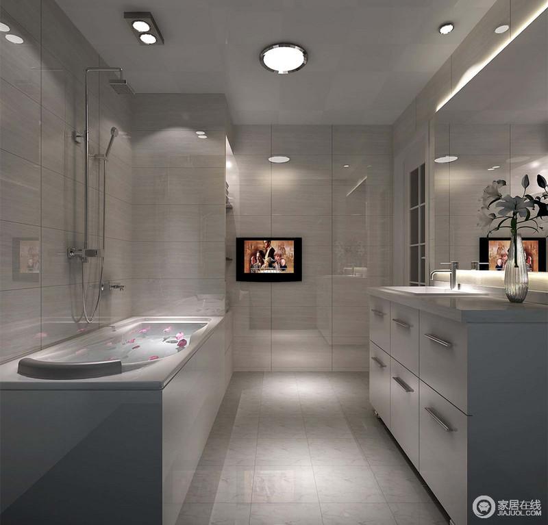动静线分明的卫浴空间里,功能区分布两侧,色调与墙面背景相似,整体透着干脆利落的简洁;铺设的理石光泽通透,与浴室镜折射着空间内容,使空间显得深邃阔朗。