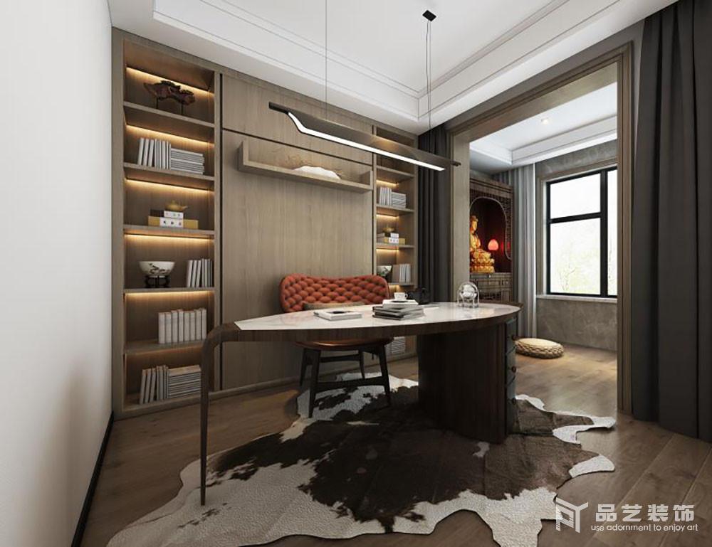 书房分为两个区域,一个是主人的书房,一个是主人私人性空间;书房的设计以定制得书柜,将主人的藏书得以安放,并因木纹地质地和肌理,烘托主自然朴质,再加上几何的设计,颇为现代;椭圆形大理石桌搭配红色新古典椅子,裹挟出小华贵。