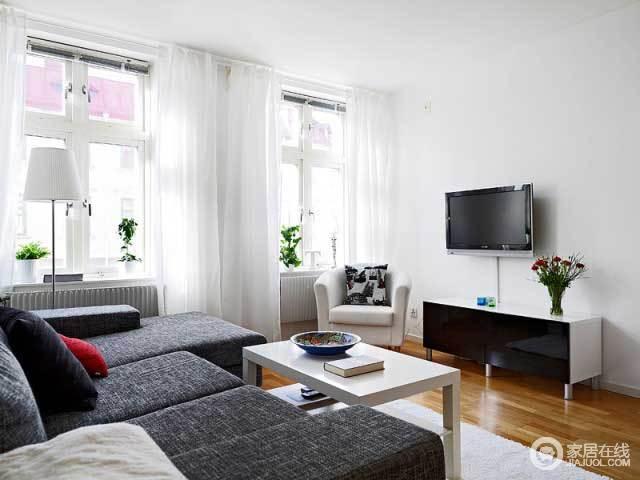 北欧时尚风情 小户型灰白情愫格调公寓