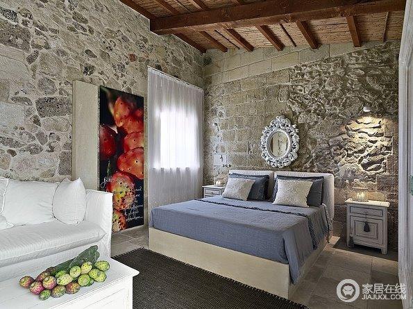 另类混搭家 裸露石头墙搭配时尚家具