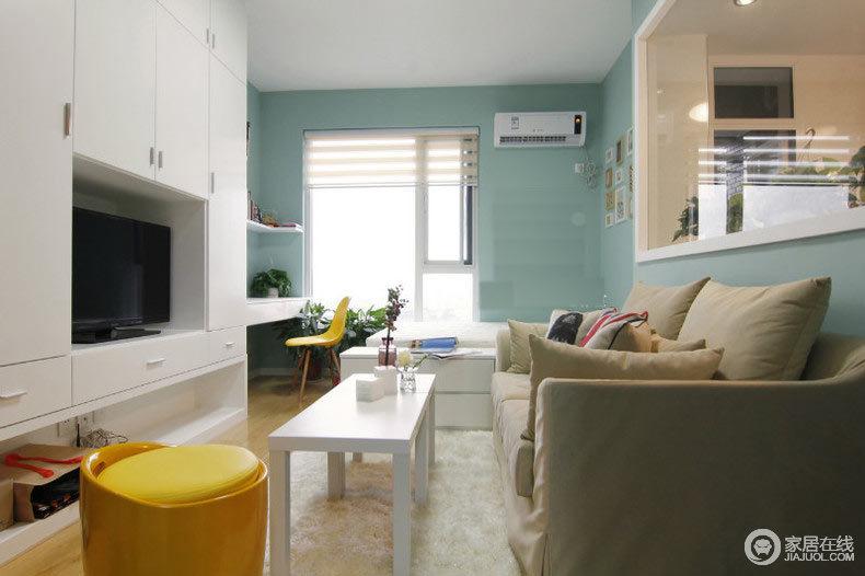 40平一室一厅装修 柠檬绿茶的味道