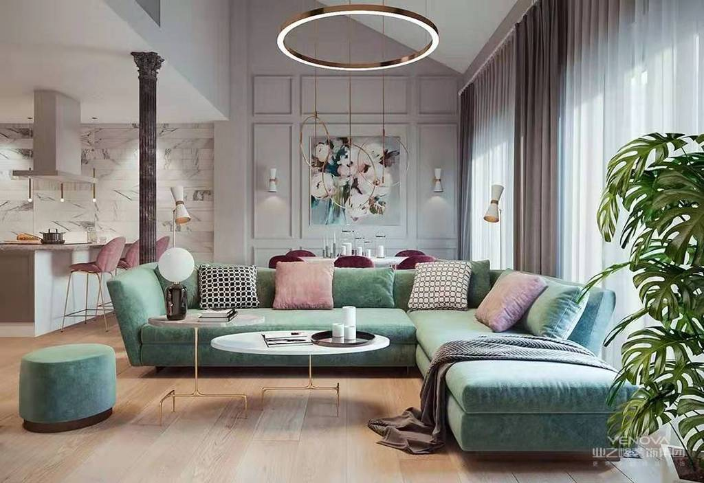 复古造型的组合沙发,以及茶几都具有上乘的质感,让美式风格得以进一步的彰显。