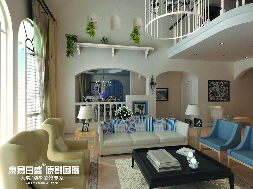 桂林安厦•麒麟湾别墅361㎡地中海风格:一楼客厅装修设计效果图