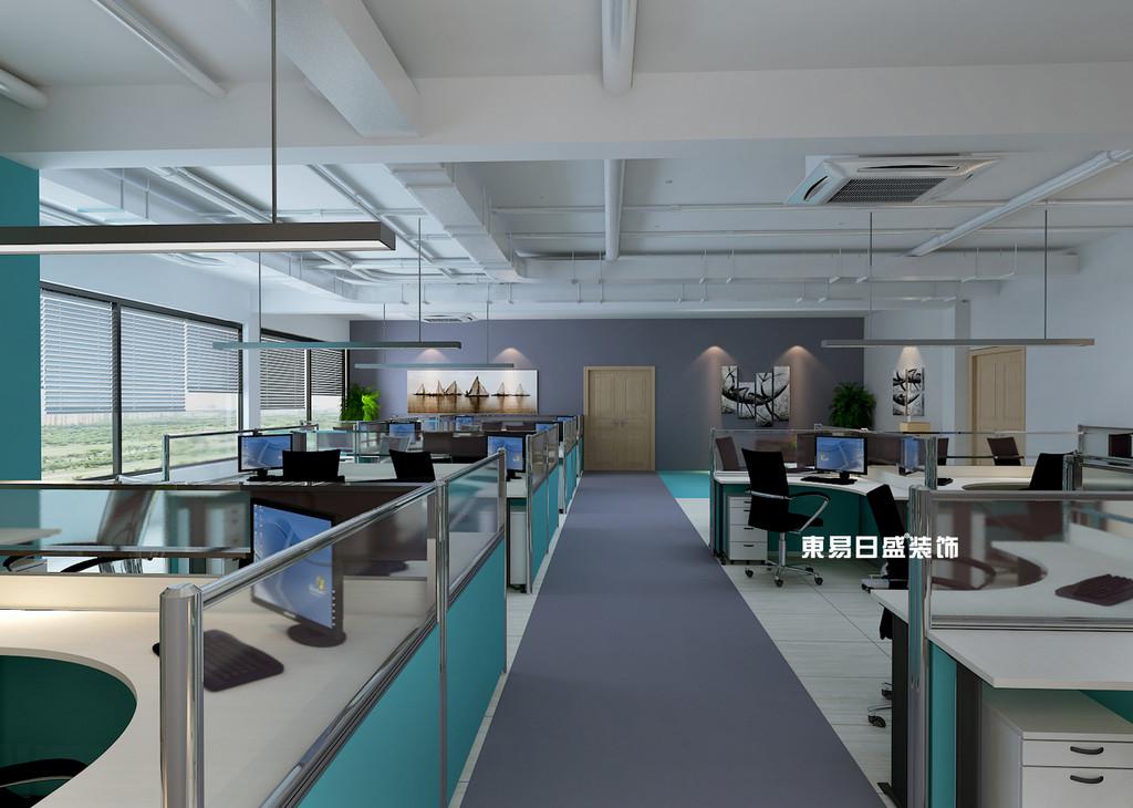 桂林工装_办公楼装修_开放办公室过道装修设计效果图