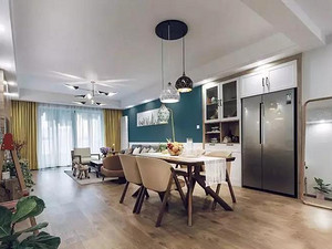 国樾龙城113平北欧公寓,色彩搭配不落俗,很是舒服!