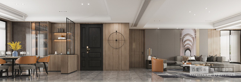 家具上运用高级灰进行低明饱和度的对比,大胆的采用 大色块的窗帘,在细节上进行巧妙的处理,增加了整体的丰富度和精致度。