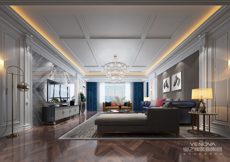 客厅设计极力摆脱造型,而是通过块面和线条塑造更具包容性的空间,软装配饰以深色为主