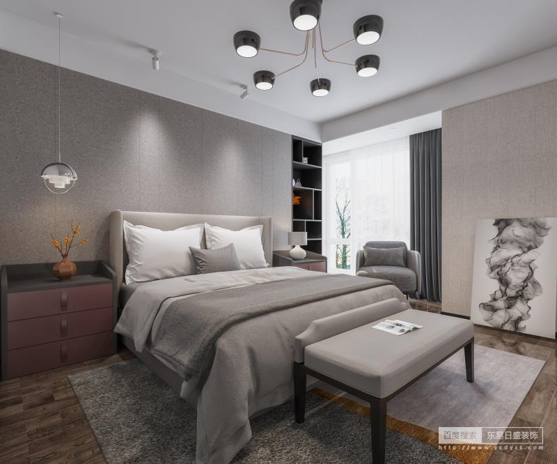 """卧室#设计师采用了大面积的灰色处理空间,为了避免单调,设计师运用了设计中的最简单的设计手法""""点线面""""的搭配组合。用""""线""""分割墙面与顶面,并未用很复杂的背景墙造型,但整个空间依然赋有层次感与美感。"""