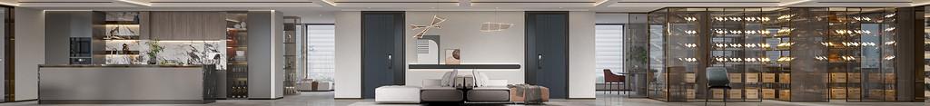 通过家具、吊顶、地面材料、陈列品甚至光线的变化来表达不同功能空间的划分,而且这种划分又随着不同的时间段表现出灵活性、兼容性和流动性。