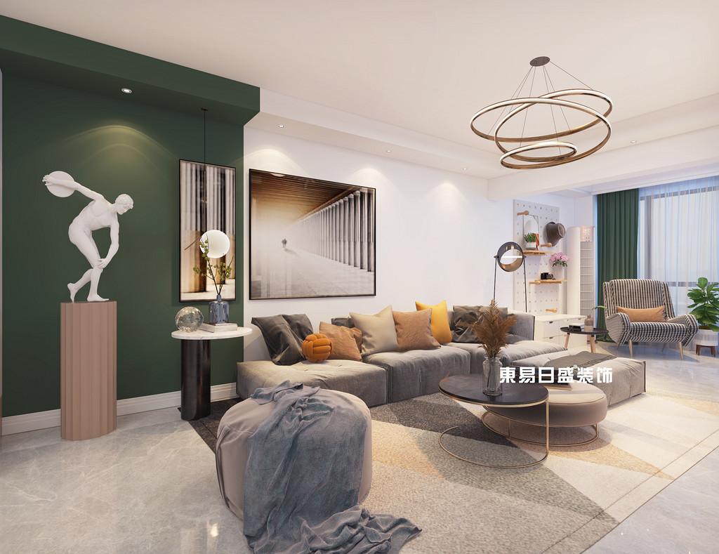 桂林信昌?棠棣之華三房兩廳118㎡北歐裝修風格:客廳裝修設計效果圖
