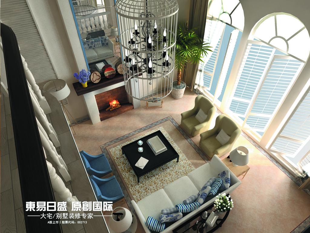 桂林安厦•麒麟湾别墅361㎡地中海风格:一楼客厅装修设计效果图(俯视)
