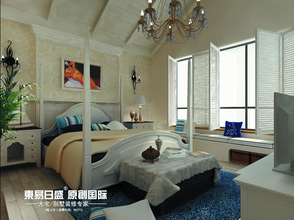 桂林安厦•麒麟湾别墅361㎡地中海风格:主卧室装修设计效果图