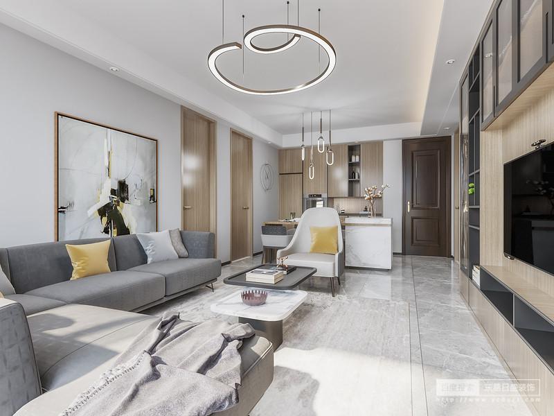 客厅以干净的纯色为主体色,白色的天花板,淡淡的木地板以及浅灰色沙发墙搭配得当,落地窗设计是时尚简洁又充分引入光线,视野开阔而明亮,在光线通透的客厅呆着,人的心情也会随之放松起来。金属系艺术化吊灯、抽象派味道浓郁的悬挂油画,以功能强大的背景墙,增加客厅的收纳空间