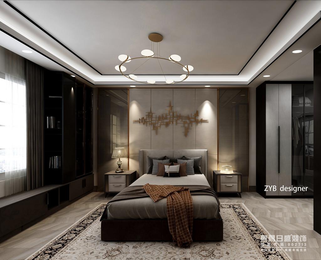 卧室是休息的地方,除了提供易于安眠的柔和的光源外,更重要的,是要以灯光的布置来缓解白天的生活压力,卧室的照明应以柔和为主。本案的卧室的照明可分为照亮整个室内的天花板灯以及床灯。