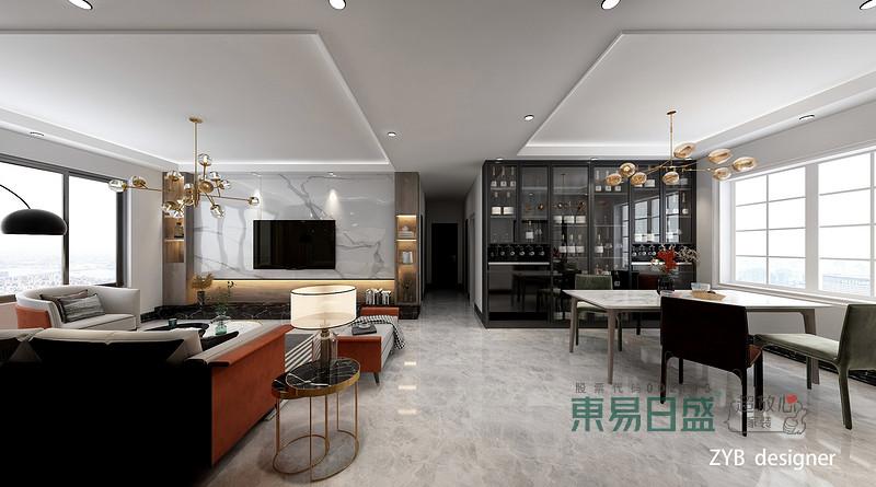 客厅:在一个家庭中,客厅是连接内外和沟通客主情感的主要场所,利用频率较高,所以在空间上也相对比较大,而客厅和南向的景观阳台相连,增加了客厅内空气的流通和采光率,另外确保了在客厅内就可以将阳台外的美丽风景尽收眼底,不但方便了来客的观光,而且大大增加了居住的舒适度。本案采取以黑白灰为主,显得简洁大气,在软装搭配上用了明快的颜色,是层次更加丰富。