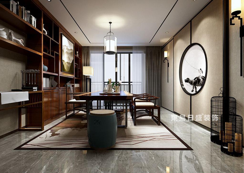 书房设计区别于整体设计风向,将中式华贵气质释放,在动静开合之间以诗情画境的手法,将茶室变成韵味悠长。
