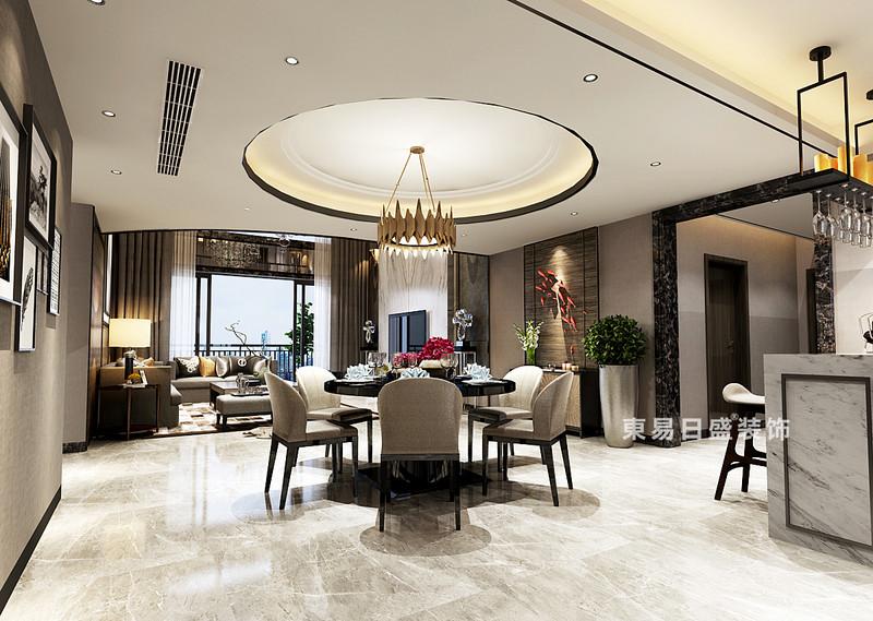 客厅与餐厅并没有进行区隔,希望通过家庭聚会为原点,赋予空间类似会所式的场合氛围,动线的明晰让驻足走动的互动空间更加自由,基于屋主注重生活品质,在保留空间尺度的同时,以点式布置强化艺术氛围,强调空间内在的魅力。