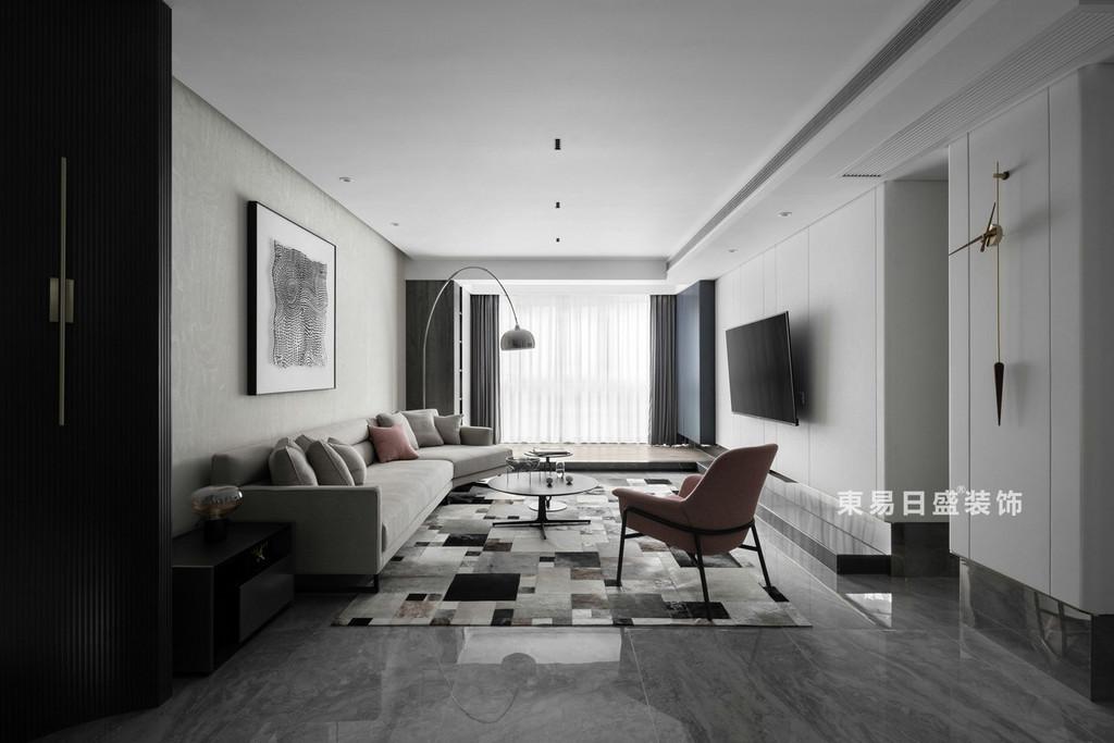 桂林江与城三居室135㎡现代风格:客厅全景装修设计效果图