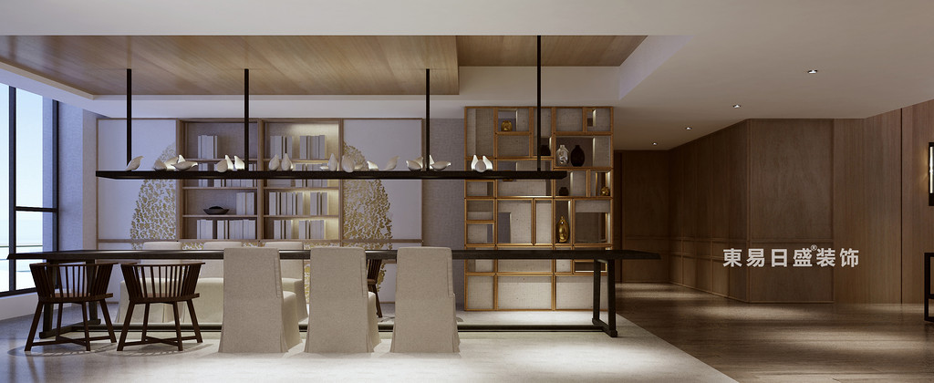 桂林花样年•麓湖国际复式楼250㎡新中式风格:餐厅装修设计效果图