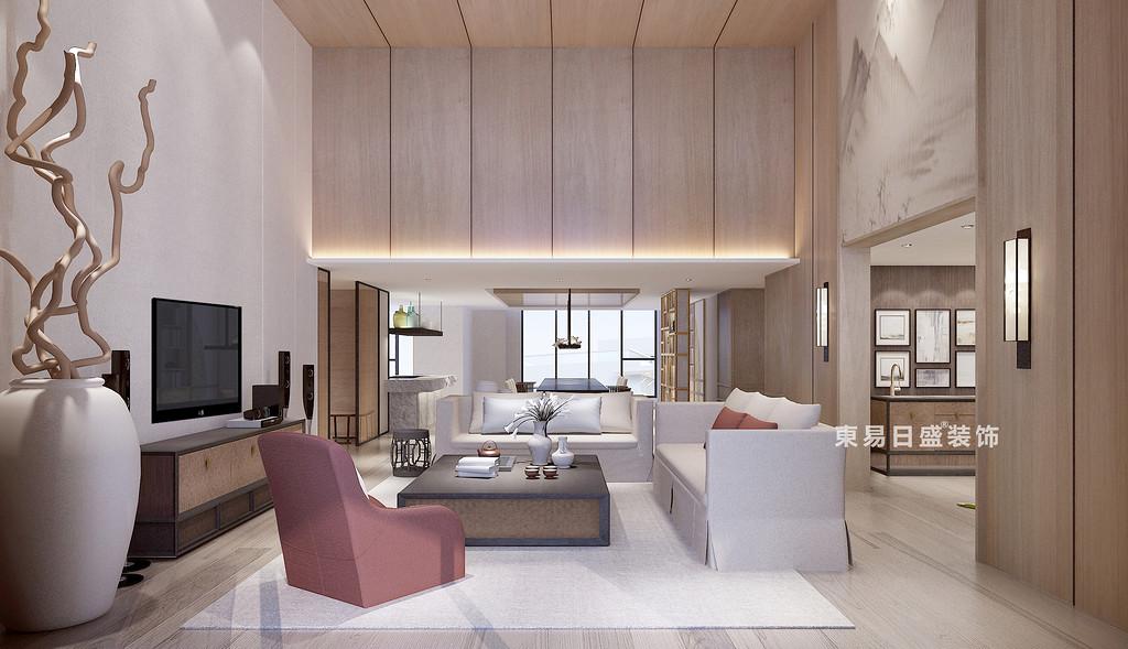 桂林花樣年?麓湖國際復式樓250㎡新中式風格:客廳裝修設計效果圖