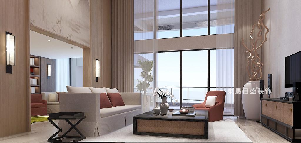 桂林花樣年?麓湖國際復式樓250㎡新中式風格:客廳飄窗裝修設計效果圖