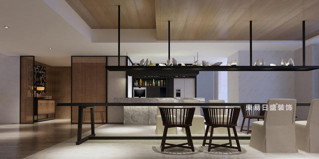 桂林花样年•麓湖国际复式楼250㎡新中式风格:厨房餐厅装修设计效果图