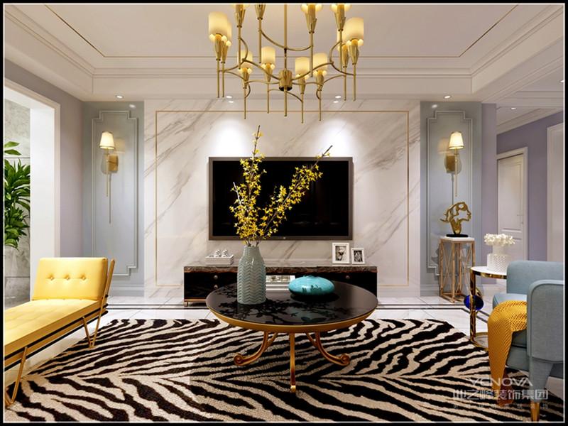 现代豪华风格的客厅比例比较宽敞,以便最大限度地利用空间。视觉空间看起来很宽敞,灯光效果也很好。