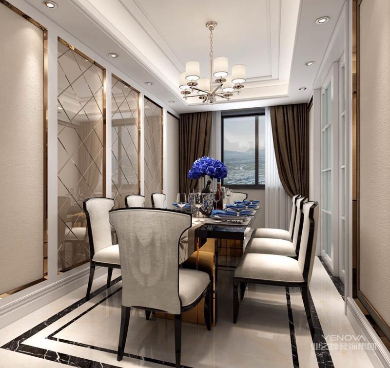 大气的用餐厅搭配高级灰色的桌椅,富有设计感的吊灯营造氛围,极简的摆设在这一空间里显得格外恬静,用餐氛围极佳。
