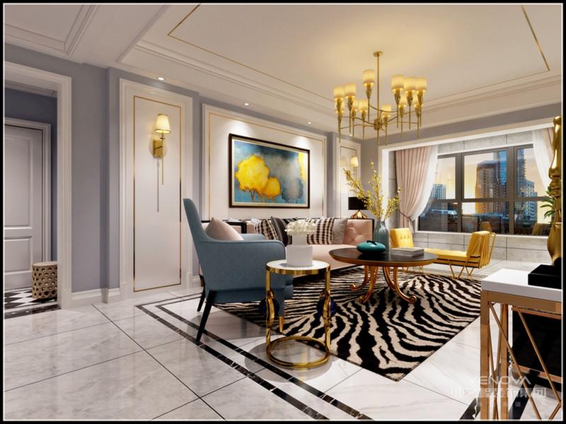 客厅采用灰色色调和金属元素点缀,营造平静而不失时尚氛围。