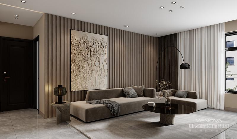 客廳做了簡單的沙發背景墻