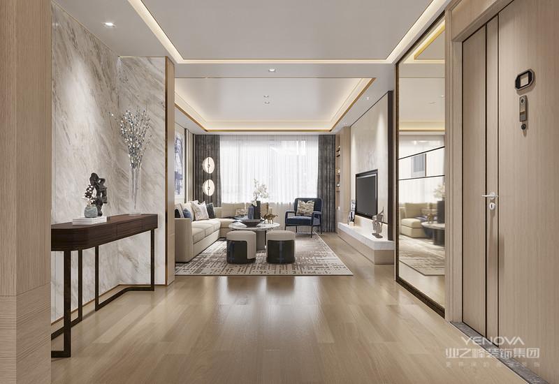 在整个空间中显得含蓄而内敛。淡雅的色彩搭配干练的线条,摒弃了传统的奢华风格
