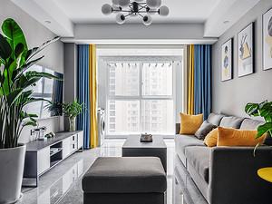 110平米现代黑白灰简约三居室