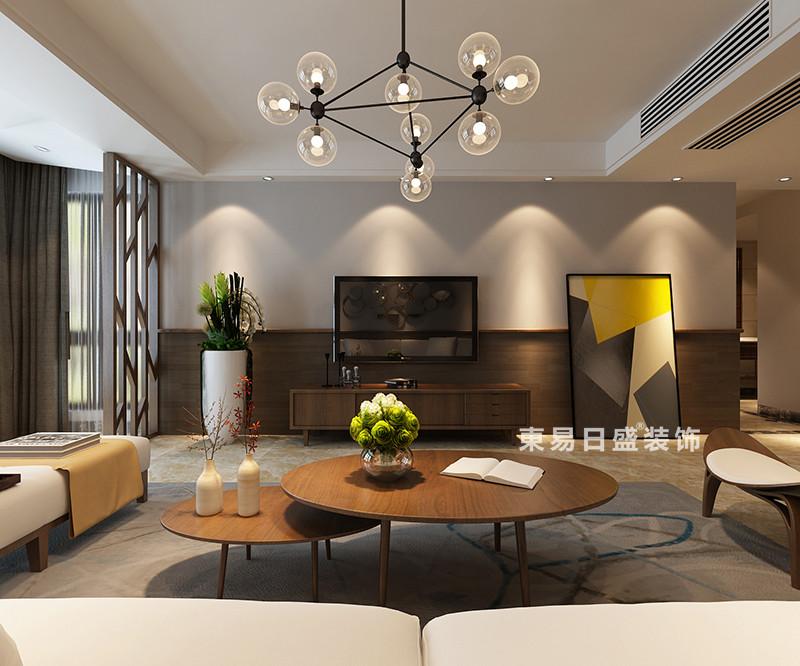 桂林冠泰?城國四居室150㎡現代風格:客廳電視墻裝修設計效果圖