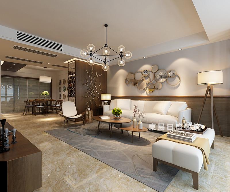桂林冠泰•城国四居室150㎡现代风格:客厅装修设计效果图