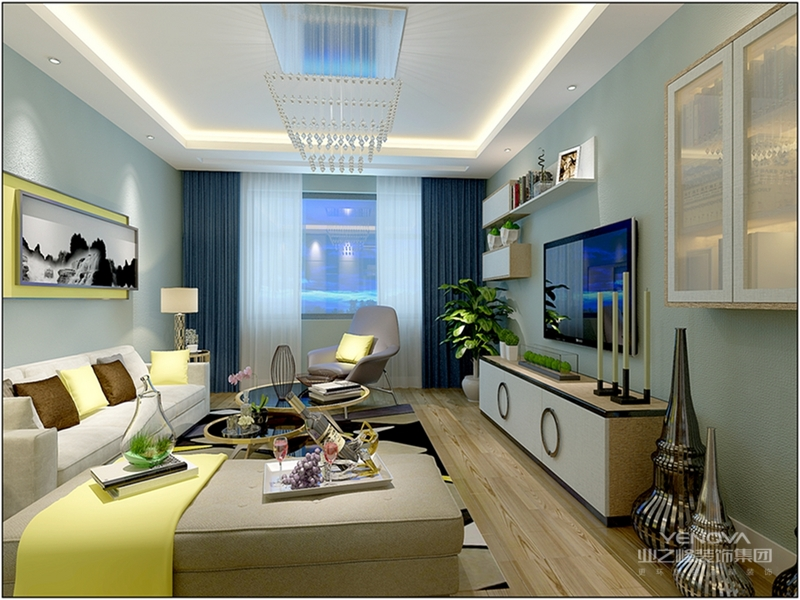淡蓝色色调,显得客厅格外的清新舒适。