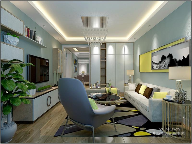 淡蓝色点缀些黄色,简单的线条和装饰简洁的造型,营造出空间中的个性与宁静。
